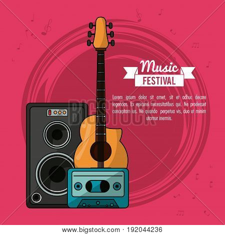 poster music festival in magenta background with guitar and speaker box and tape cassette vector illustration