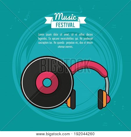 poster music festival in blue background with vinyl lp record and headphones vector illustration