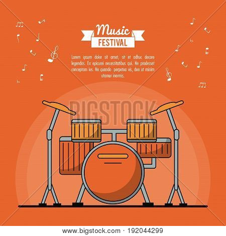 poster music festival in orange background with battery instrument vector illustration