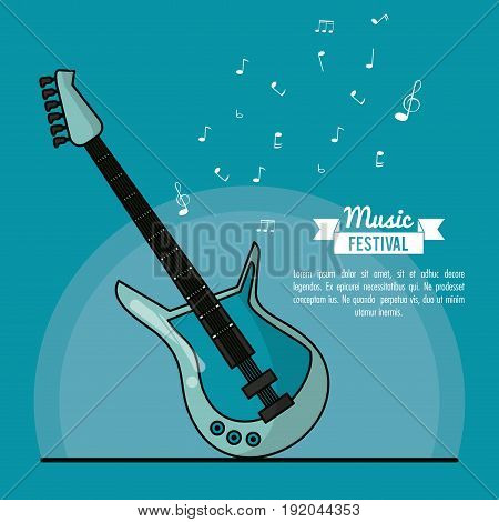 poster music festival in blue background with electric guitar vector illustration