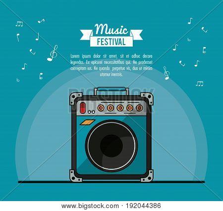 poster music festival in blue background with speaker box vector illustration