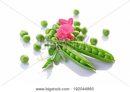 Healthy Food. Fresh Green Peas With Pink Flowers Of Sweet Pea