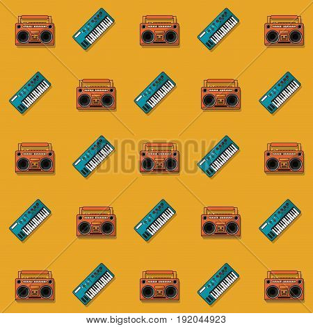 color pattern with piano keyboard and cassette tape player vector illustration