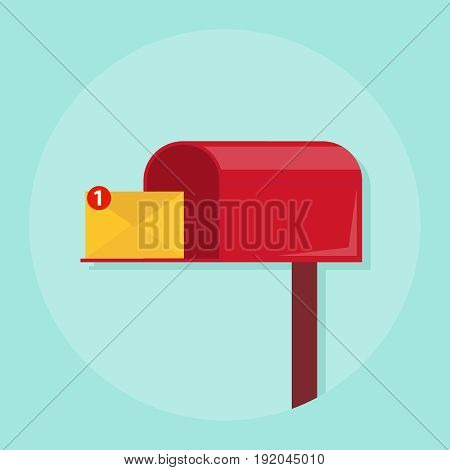 A letter in the mail box the letter came in the mailbox. Flat design vector illustration vector.