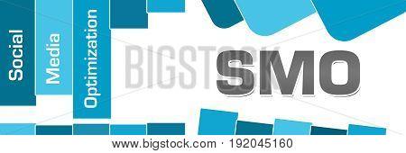 Social media optimization text written over blue background.