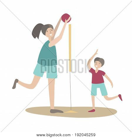 Mother and son play volleyball. Family Sports and physical activity with children, joint active recreation. Vector illustration in flat style, isolated on white background.
