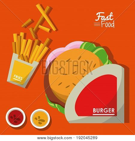 poster fast food in orange background with burger and sauces and fries vector illustration