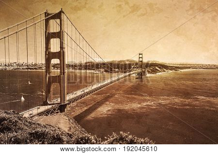 San Francisco golden gate bridge with sepia tone vintage effect