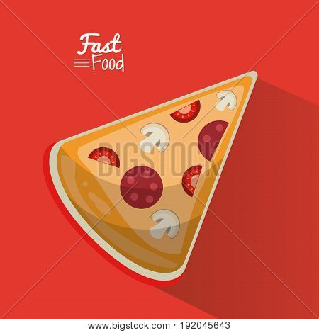 poster fast food in red background with pizza portion vector illustration