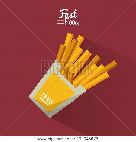 poster fast food in purple background with fries portion vector illustration