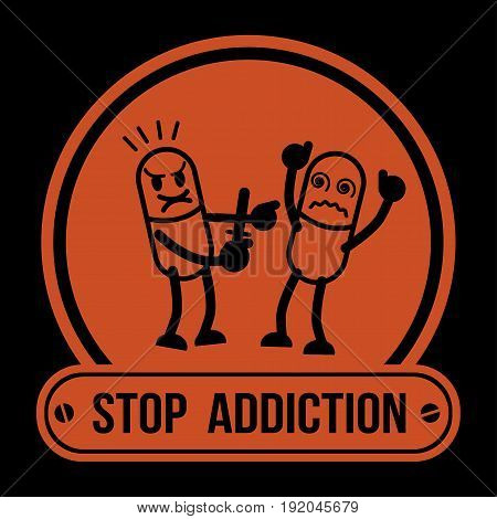 No Drugs label Campaign, Stop Addiction Amphetamine, Conceptual vector illustration.