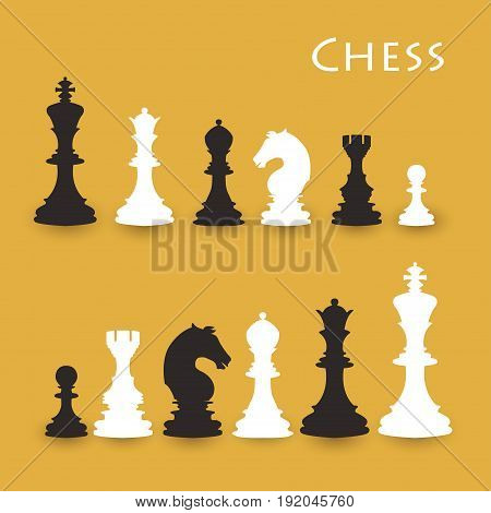 Chess Figures big set black and white. International chess day card. July 20. Vector illustration