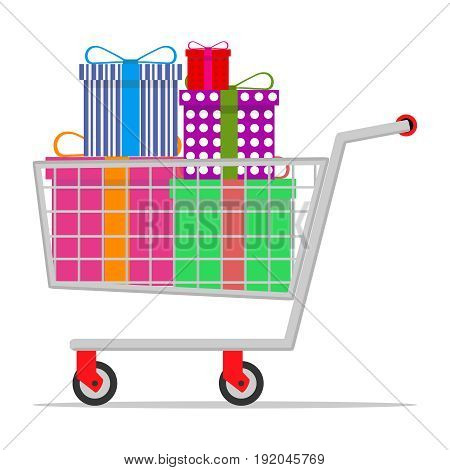 Mobile trolley with gifts. Flat design vector illustration vector.