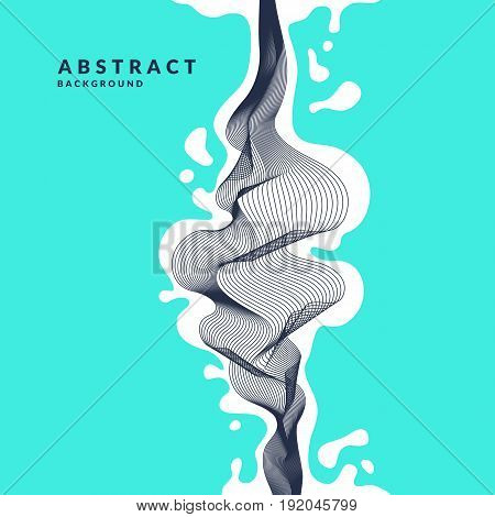 Abstract background with dynamic linear waves and splashes. Vector illustration in flat minimalistic style