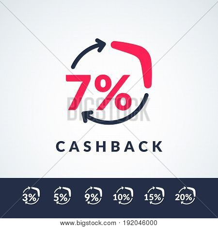 Modern vector illustration of cash back with the boomerang and the percent sign. Poster in minimalistic flat style suitable for website design store