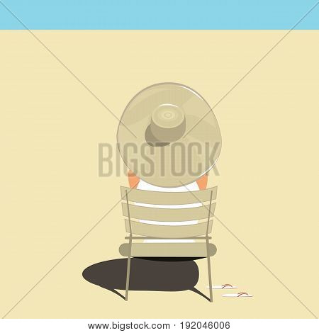 Vector flat illustration. Young Woman relaxing in the Pool . Woman Sunbathing in the Swimming Pool.