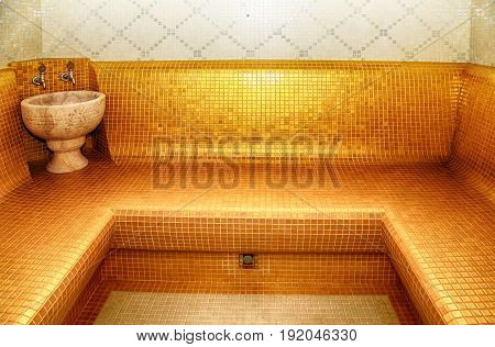 Interior of Turkish sauna - classic Turkish hammam