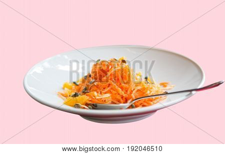 cookery Carrot salad in a white plate