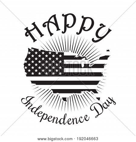 Independence Day icon. Happy Independence Day of America. 4th of July. Map of the United States of America. US flag. Black icon isolated on white background. Vector illustration