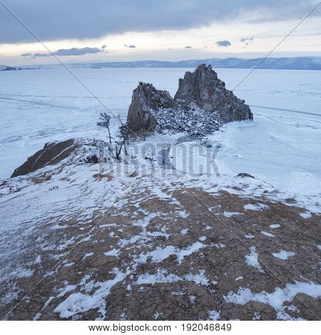 Rock Shaman. Lake Baikal, Winter. Cape Burhan Landscape.