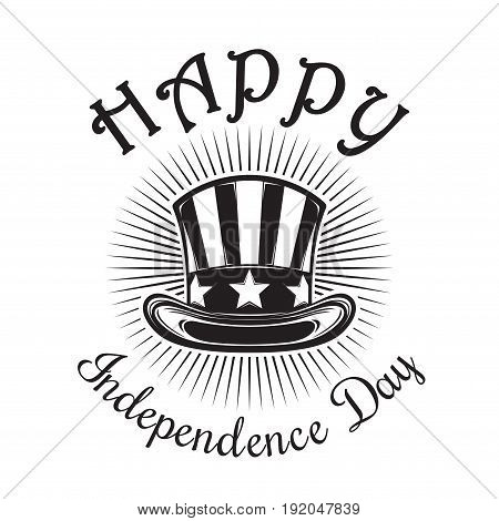 Independence Day card. Fourth of July. Happy Independence Day. US hat icon isolated on white background. Vector illustration