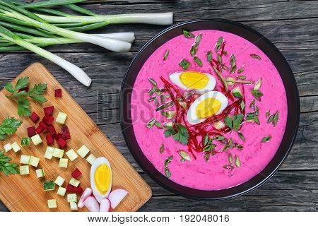 Cold Soup With Beetroot, Cucumber, Scallions, Egg