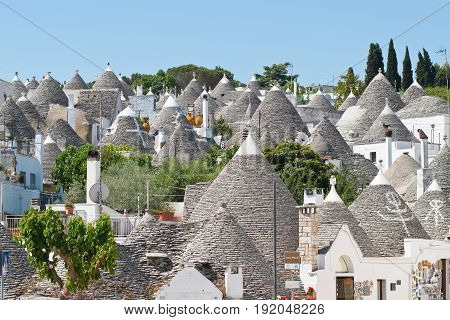 Panoramic view of Alberobello. Puglia. Southern Italy.