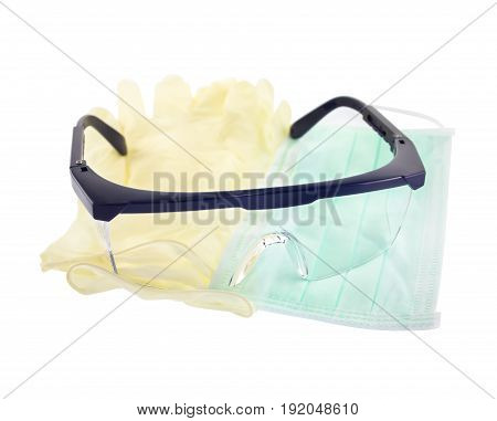 mask glove goggles protect equipment isolated on white background