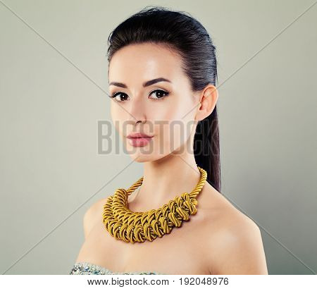 Pretty Woman wearing Trendy Yellow Necklace on gray