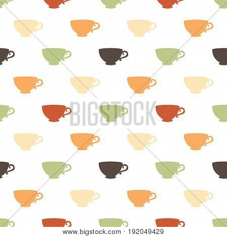 Seamless pattern with a multicolored cups on a white background