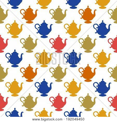 Seamless pattern with a multicolored teapots on a white background