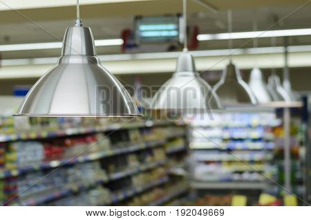 Many lanterns light products in the super market