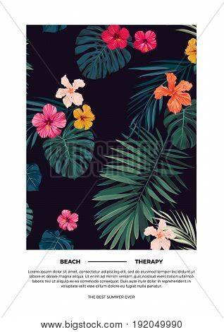 Tropical summer postcard design with bright hibiscus flowers and exotic palm leaves on dark background. Vector illustration.