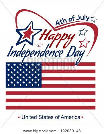 Independence Day lettering card. 4th of July. Fourth of July. Happy Independence Day. US flag. Typographic design. Vector red and blue lettering on a white background
