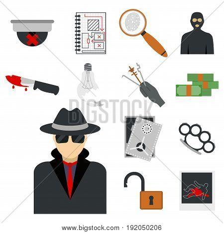 Crime icons protection law justice sign security police gun offence felony transgression flat vector illustration. Thief prison legal safety gavel lock investigation criminal set.
