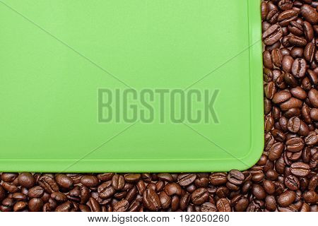 Green Background Around The Edges Of Fried Grain Coffee, Space For Text