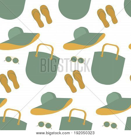 Seamless pattern with summer hat bag sungiasses flip-flops. Set for a summer walk. Summer shoes. Summer things for the beach. Comfortable things for summer holidays. Summer accessories.