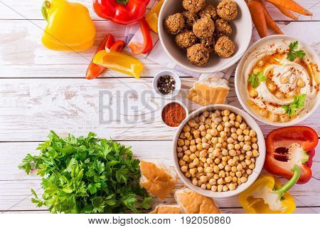 Falafel, Pita, Hummus And Chickpea  With Vegetables. Top View
