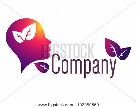Modern head logo of Psychology. Profile Human. Creative style. Logotype in vector. Design concept. Brand company. Violet red color isolated on white background. Symbol for web, print, card. Leaves