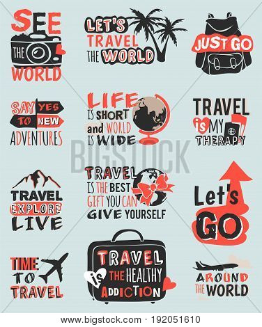 Vintage typography travel motivation badge quote adventure vector set. Adventure poster emblem travel motivation badge lettering element. Travel motivation badge typography label concept.