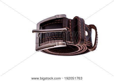 Fashionable Men's Brown Belt Isolated On White Background