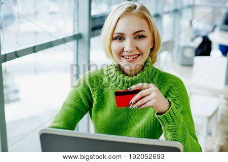 Cute Freelancer Girl  In Cafe