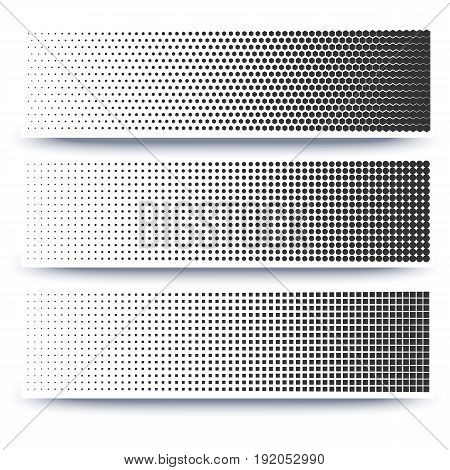 Halftone abstract 3d banners collection on white background with shadow and space for your message. Template for ad, promotion, advertising, cover, posters, banners and other.