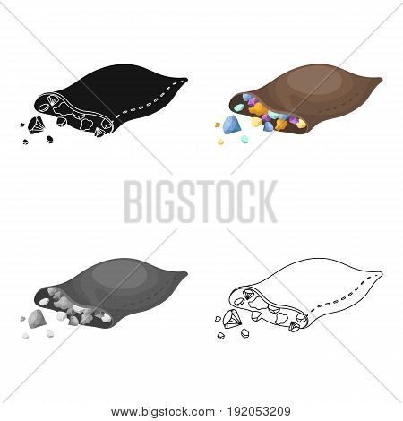 A leather bag with diamonds and precious stones.African safari single icon in cartoon style vector symbol stock illustration .