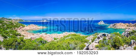 Pure clear azure sea water and amazing rocks on coast of Maddalena island, Sardinia, Italy. Wide - banner