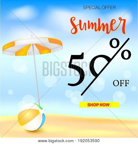 Selling ad banner, vintage text design. Fifty percent summer vacation discounts, The sandy beach background with sun umbrella and bouncy ball. Template for online shopping, advertising actions.