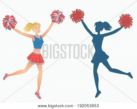 Club dancer with pom-poms and her silhouette. Vector illustration EPS-8.