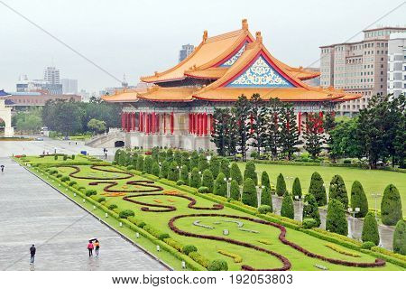 Taipei Thaiwan - April 2017: Green garden in front of National Concert Hall looked from Chiang Kai-shek Memorial Hall