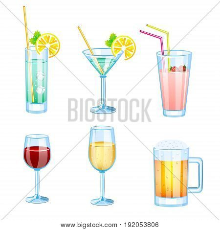 Drinks set with different beers and cocktails. Drinks