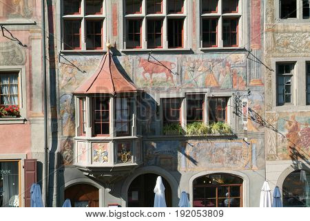 Detail Of A Medieval House Of Stein Am Rhein